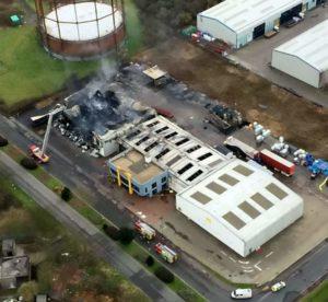 Fire damaged factory
