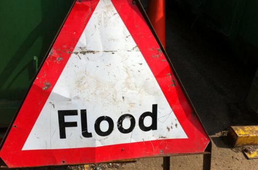 Flood road sign
